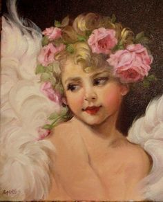 Barnes Gorgeous Oil Painting Angel Portrait Girl Vintage Antique Style Pink Rose | eBay