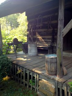 Christine LeFever: 43 Shots of Antique Show, Days of the Pioneer Old Cabins, Log Cabin Homes, Cabins And Cottages, Cabins In The Woods, Rustic Cabins, Cabin Porches, Decks And Porches, Rustic Porches, Country Porches