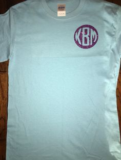T shirt with glitter vinyl initials done by  berry uniquely.
