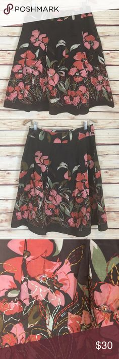 Talbots Floral Full Skirt Brown Pink Embroidered Talbots skirt. Full. Brown with pink and green floral. Embroidered and beaded details. Size 10. Silk and cotton. Polyester lining. Excellent preowned condition with no flaws. Talbots Skirts A-Line or Full
