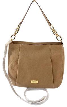 Michael Kors Hallie Large Leather Convertible Shoulder Bag Crossbody Khaki Brown #MichaelKors #ShoulderBag