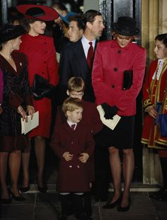 Diana, Princess of Wales, Prince Charles and their two sons Prince William and Harry, attending the christening of Princess Beatrice at the Chapel Royal, St James's Palace, December 1988