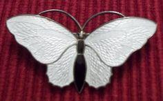"""Hallmarked Aksel Holmsen Norway Enamel Guilloche Butterfly Pin 1 875""""   eBay"""