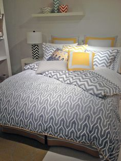 How To Keep Gray Chevron Bedding — Jowilfried Tsonga Decor Grey Chevron Bedding, Gray Chevron, King Size Comforters, White Towels, Bedding Collections, Bed Frame, Dorm Room, Interior Design, Dorm Rooms