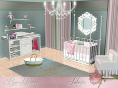 A Romantic Pastel Toned nursery for your little babies. Pink , blue and pale yellow variations included Found in TSR Category 'Sims 3 Nursery Sets'