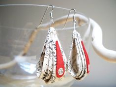 Ancient Recycled Paper Earrings  Red Leather by RilegatoaMano, €20.00