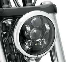 Banish The Night. New Harley-Davidson Daymaker LED Headlamp For Softail, Dyna And Sportster Models. #harleydavidsonsoftailstandard #harleydavidsondynamodels