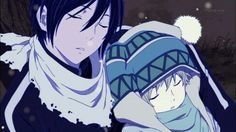A sleeping Yato and Yukine in the snow.  <3