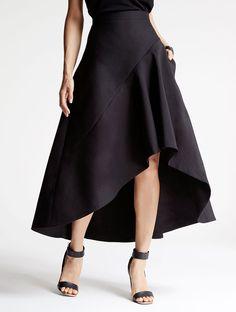 Halston - Silk Faille Hi Lo Skirt