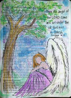 Judges 6:11 Angel watercolor painting Bible art journaling by @peggythibodeau www.peggyart.com