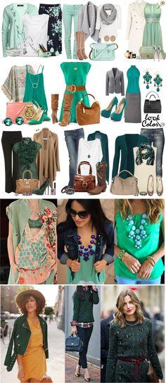 Сочетание холодного зеленого цвета в одежде Это тона ментола, кели и изумрудный. К ментоловым оттенкам подойдут белые, светло-серые, бежевые, бледно-желтые, сиреневые, кораллово-розовые цвета. Этот же цвет может образовывать яркие пары с оранжевым, красным, темно-синим. Более насыщенный оттенок холодной зелени будет цвет кели –насыщенный, холодный зеленый цвет. Он сочетается с коралловым, персиковым, синим, бежевым, теплым и холодным коричневым.