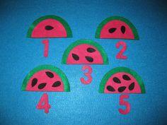Felt Watermelon Seed Counting 1 through 5 Play by funandsimplefelt