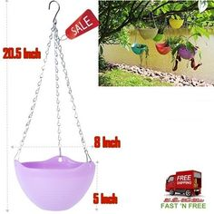 Hanging Flower Plant Pot Chain Basket Planter Holder Garden Outdoor Indoor Purpl #Mkono