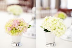 wedding flower centerpieces - mint julep cup and hydrangeas