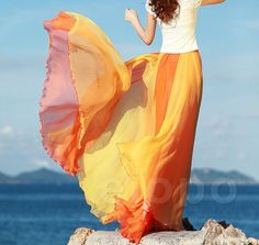 Hot Orange Long Holiday Chiffon skirt Maxi Skirt Ladies Silk Chiffon Dress Plus Sizes Sundress Dancing skirt