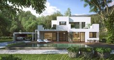 Visualization of high-end prefabricated house.