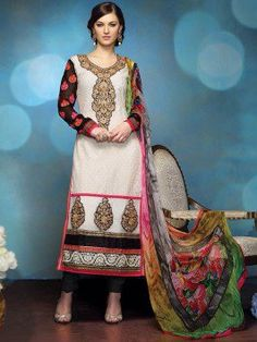 White Georgette Suit With Butta Work (With Santone Inner) www.saree.com