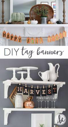 DIY Fall Tag Banners Diy Home Crafts, Fall Crafts, Decor Crafts, Fall Banner, Diy Banner, Quick And Easy Crafts, How To Make Banners, Fall Diy, Fall Home Decor