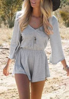 This grey V neck romper is styled with an elastic waist, a deep V back and kimono sleeves. | Lookbook Store Jumpsuits and Rompers