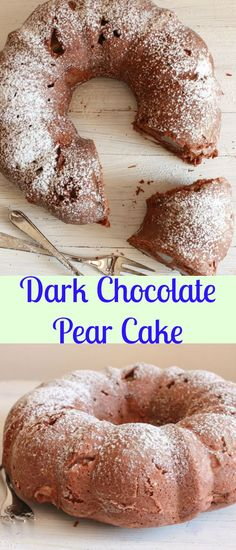 Dark Chocolate Pear Cake, a delicious easy, moist, Pear Cake recipe, the perfect. - Adventures in Eating - Chocolate Homemade Cake Recipes, Cupcake Recipes, Cupcake Cakes, Bundt Cakes, Cupcakes, Pear Recipes, Fruit Recipes, Dessert Recipes, Chocolate Desserts