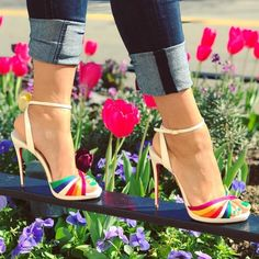 White Vintage-Chic 'Naseeba' Sandals With Rainbow Stripes