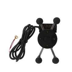 Motorcycle Cell Phone Holder Stand USB Charger X-shape Rotatable Mount Bracket