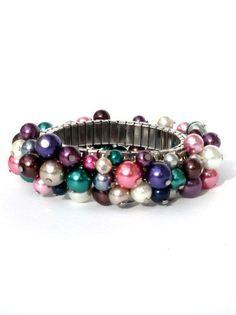 Bracelet glass pearls dark tones. Handcrafted elastic wristband glass beads emerald, purple, grey, silver-colored beaded bracelet (Albarese)...