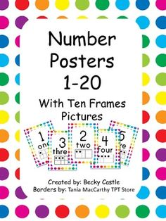 Number Posters with Tens Frames - White with Polka Dots These brightly colored number posters include the numeral, number word, and corresponding tens frames. Kindergarten Readiness, Kindergarten Classroom, Math Resources, Math Activities, Number Posters Free, Polka Dot Classroom, Behavior Clip Charts, Classroom Posters, Classroom Ideas