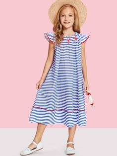 SHEIN offers Girls Animal Print Ruffle Detail Striped Dress & more to fit your fashionable needs. Toddler Fashion, Kids Fashion, Fashion Outfits, Fashion Trends, Coat Dress, Dress Up, Little Girl Dresses, Girls Dresses, Classy Outfits