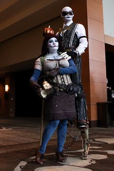 STEAMPUNK JACK AND SALLY. THIS IS THE MOST AMAZING THING I HAVE EVER SEEN.  (Also, Damsel in This Dress made the corset and shrug on Sally.)