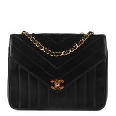 e4d0c1813e41 Chanel Vintage Lambskin Quilted Chevron Small Single Flap in Black Leather  Thread, Chevron Quilt,