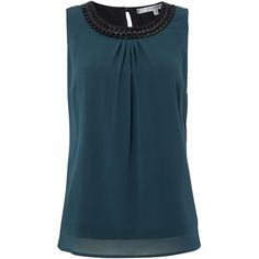 La Fee Maraboutee Sleeveless Top (€110) ❤ liked on Polyvore featuring tops, green, women, blue tank top, blue top, blue tank, green sleeveless top and sleeveless tops