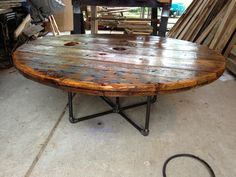 Coffee Table made from an old cable spool!!