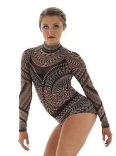 Tribal mesh dance leotard with long sleeves