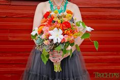 Don't be afraid to mix textures and bold color! Photo by Fire and Nice Photography #trochtas #wedding #flowers #bouquet