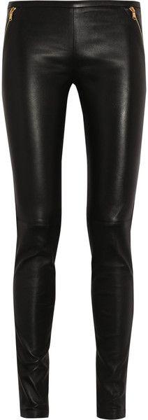 Emilio Pucci stretch leather skinny pants.