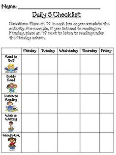 Daily 5 (or Student Checklist Once you have established your routine for the Daily 5 (or Daily your students can begin to manage their own rotation choices. Students keep thi. Daily 5 Reading, First Grade Reading, Teaching Reading, Guided Reading, Teaching Ideas, Daily Five Cafe, Daily 3, Daily 5 Checklist, Kid Costume