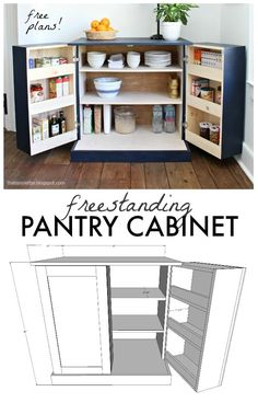 A DIY tutorial to build a freestanding kitchen pantry cabinet with free plans. A DIY tutorial to build a freestanding kitchen pantry cabinet with free plans. Make your kitchen functional with accessible storage and more counter space! Kitchen Pantry Cabinets, Diy Cabinets, Kitchen Storage, Dvd Storage Cabinet, Craft Cabinet, Furniture Projects, Home Furniture, Furniture Stores, Diy Indoor Furniture