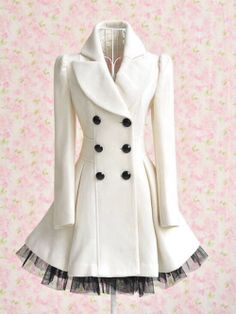 White princess-style coat with black accents.