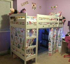 IKEA hack - Mydal bunk bed into loft with bench.