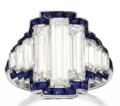 PLATINUM, DIAMOND AND SAPPHIRE RING, circa 1925.  Sotheby's, April 2014, NY.