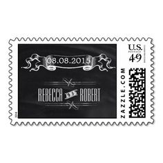 contemporary rustic  vintage  Chalkboard wedding Stamps