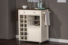 Justin Kitchen Cart with Built-In Wine Rack