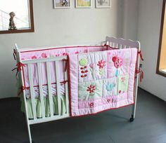 Promotion! 4pcs embroidered Baby Bedding Set Crib Bumpers Newborn Baby Products   ,include(bumper+duvet+bed cover+bed skirt)