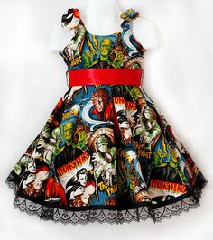 Retro Monster Mash Dress listing size for 678 by RoughhousersInc