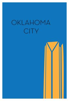 Oklahoma City Minimalism Poster Design by Ryan Russell. 14 Minimalism Iconic City Structure Silhouettes. #minimalism #design #graphic