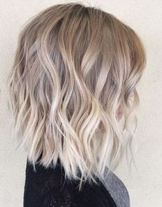 Ombre, Balayage Hairstyles for Medium Hair - Layered, Wavy Lob Hair Cut