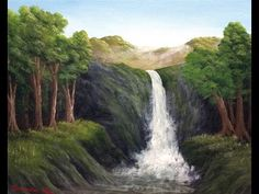 Painter In You - Acrylic Landscape Painting Lesson - Cliff Side Waterfall - Full Tutorial - YouTube