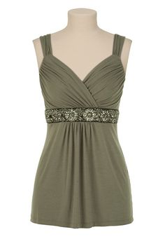 embellished empire waist tank $32 #maurices