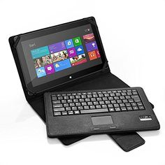 cool Microsoft Surface Pro 2 / Surface 2 / Surface Pro / Surface RT Keyboard Case, Poweradd Slim Bluetooth Keyboard with Touchpad and Leather Folio Smart Case for 10.6-inch Windows 8/Android Tablet - Black